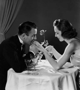 romantic dinner black and white classic